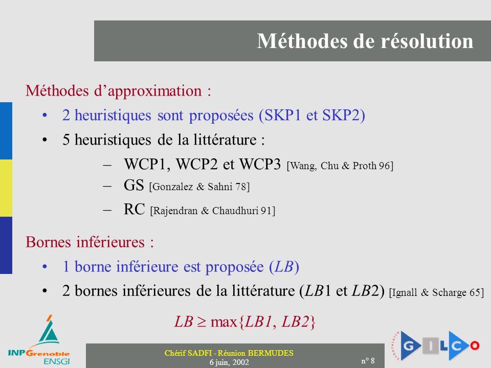 Chérif SADFI - Réunion BERMUDES 6 juin, 2002 n° 8 Méthodes de résolution Méthodes dapproximation : 2 heuristiques sont proposées (SKP1 et SKP2) –WCP1, WCP2 et WCP3 [Wang, Chu & Proth 96] –GS [Gonzalez & Sahni 78] –RC [Rajendran & Chaudhuri 91] 5 heuristiques de la littérature : Bornes inférieures : 1 borne inférieure est proposée (LB) 2 bornes inférieures de la littérature (LB1 et LB2) [Ignall & Scharge 65] LB max{LB1, LB2}