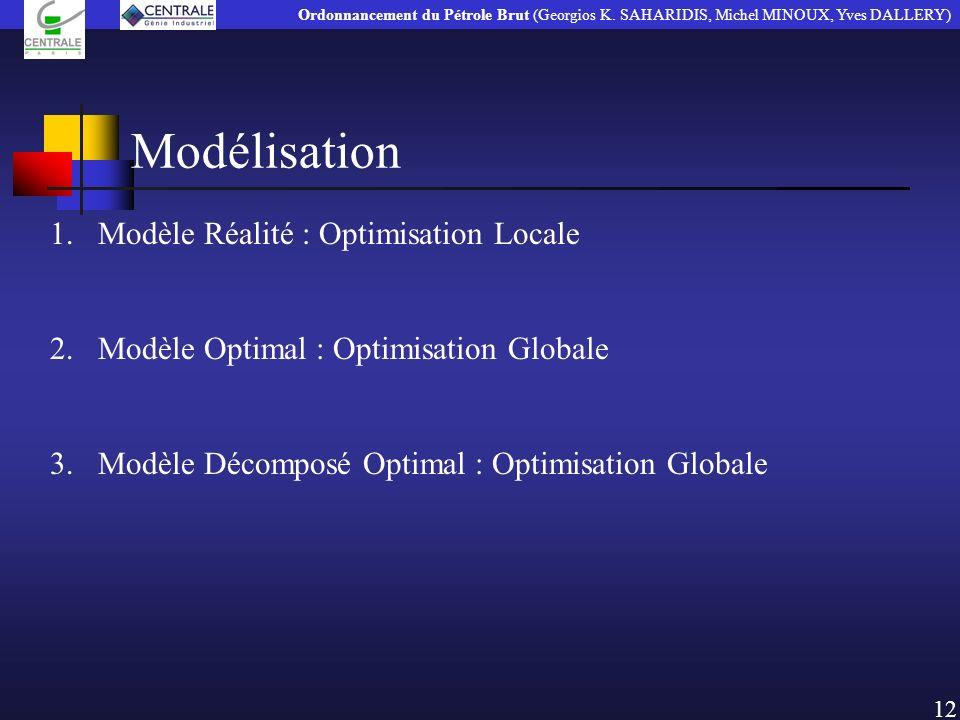 Modélisation 1.Modèle Réalité : Optimisation Locale 2.Modèle Optimal : Optimisation Globale 3.Modèle Décomposé Optimal : Optimisation Globale 12 Ordon