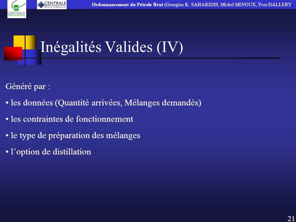 Inégalités Valides (IV) Généré par : les données (Quantité arrivées, Mélanges demandés) les contraintes de fonctionnement le type de préparation des m