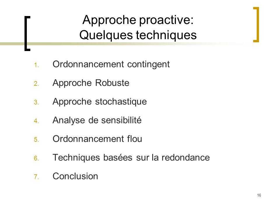 16 Approche proactive: Quelques techniques 1. Ordonnancement contingent 2. Approche Robuste 3. Approche stochastique 4. Analyse de sensibilité 5. Ordo