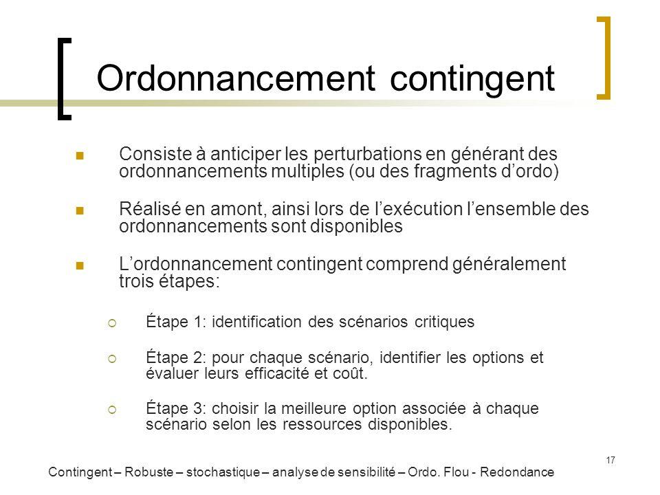 17 Ordonnancement contingent Consiste à anticiper les perturbations en générant des ordonnancements multiples (ou des fragments dordo) Réalisé en amon