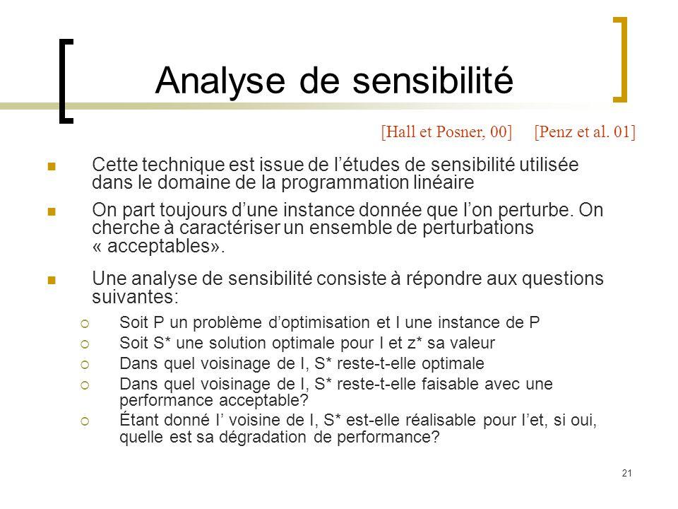 21 Analyse de sensibilité Cette technique est issue de létudes de sensibilité utilisée dans le domaine de la programmation linéaire On part toujours d