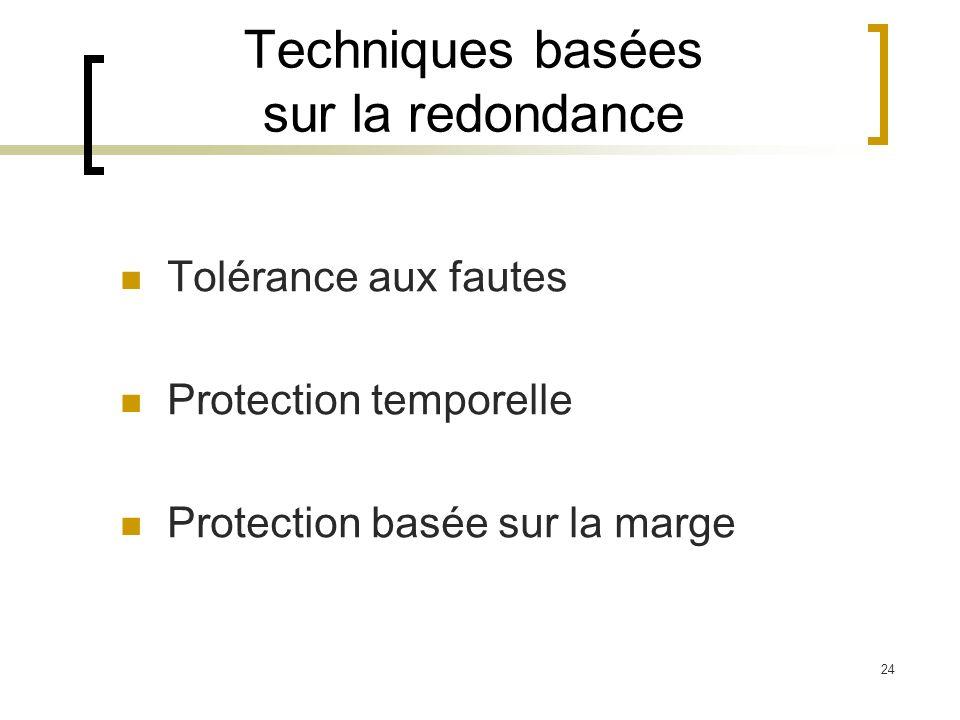 24 Techniques basées sur la redondance Tolérance aux fautes Protection temporelle Protection basée sur la marge