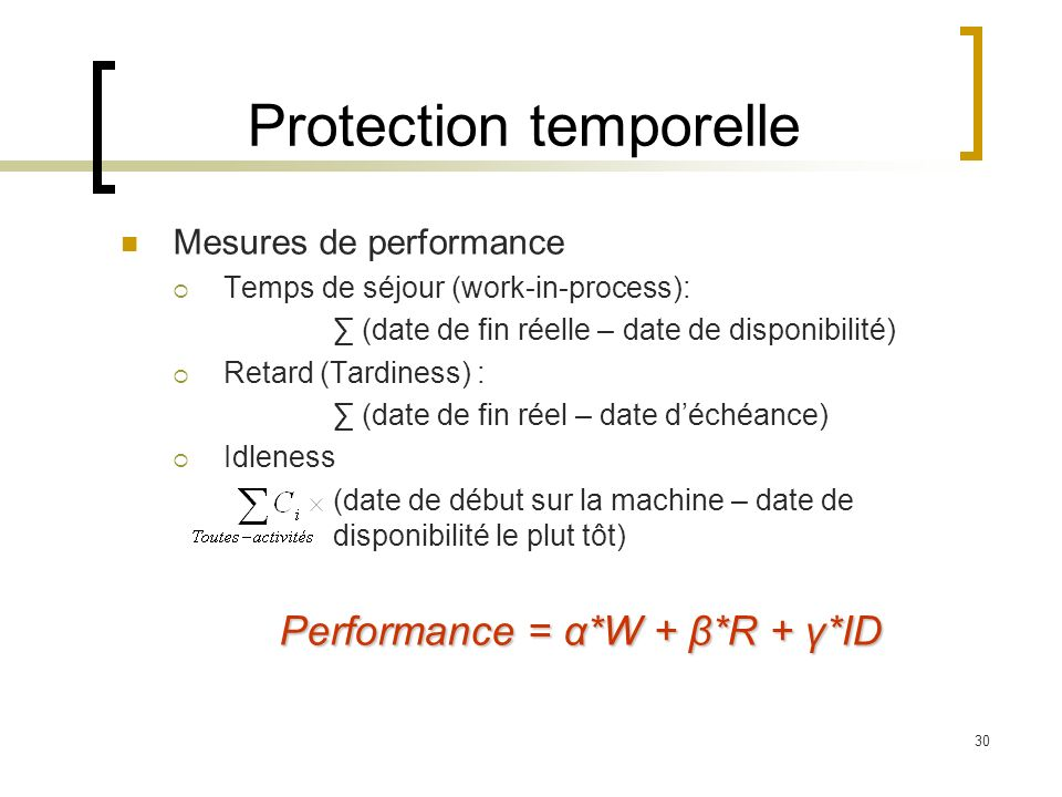 30 Protection temporelle Mesures de performance Temps de séjour (work-in-process): (date de fin réelle – date de disponibilité) Retard (Tardiness) : (