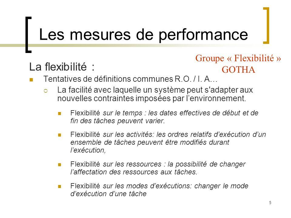 5 Les mesures de performance La flexibilité : Tentatives de définitions communes R.O. / I. A… La facilité avec laquelle un système peut s'adapter aux