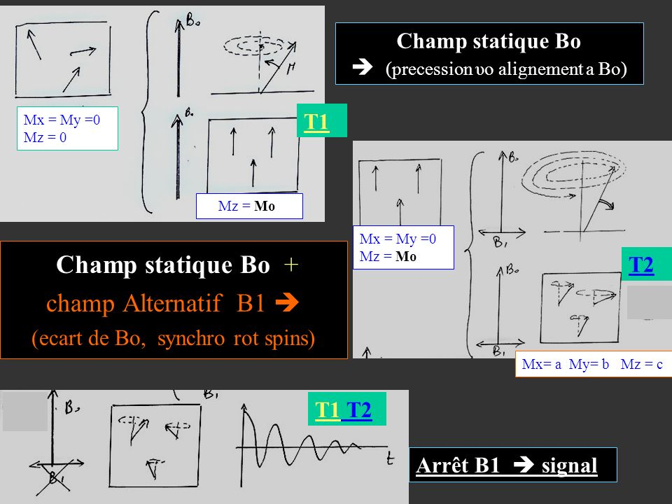 Champ statique Bo (precession υo alignement a Bo) Champ statique Bo + champ Alternatif B1 (ecart de Bo, synchro rot spins) Mx= a My= b Mz = c0 Mx = My
