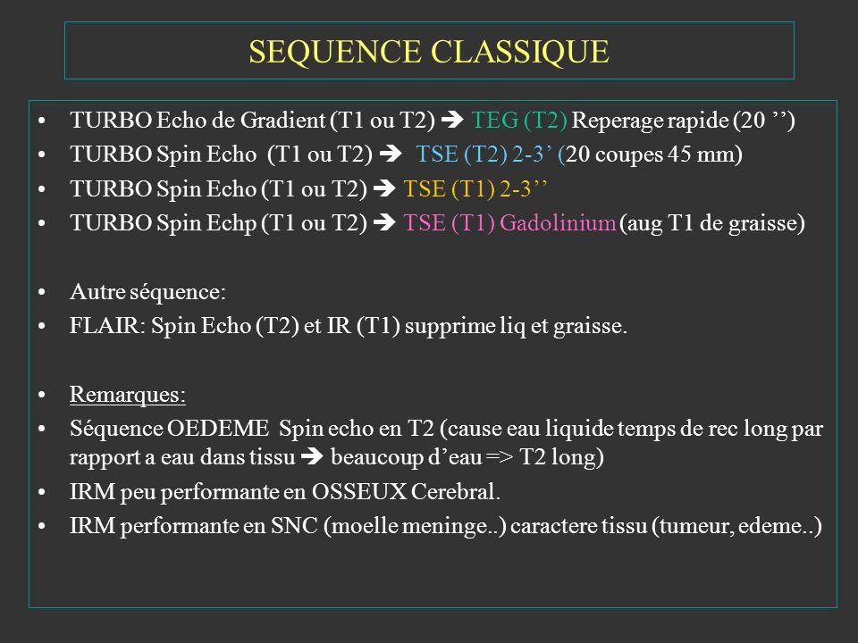 SEQUENCE CLASSIQUE TURBO Echo de Gradient (T1 ou T2) TEG (T2) Reperage rapide (20 ) TURBO Spin Echo (T1 ou T2) TSE (T2) 2-3 (20 coupes 45 mm) TURBO Sp