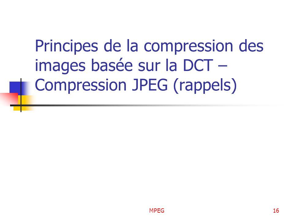 MPEG16 Principes de la compression des images basée sur la DCT – Compression JPEG (rappels)
