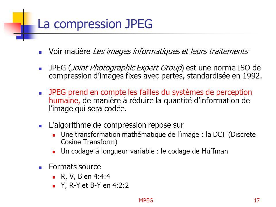 MPEG17 La compression JPEG Voir matière Les images informatiques et leurs traitements JPEG (Joint Photographic Expert Group) est une norme ISO de comp