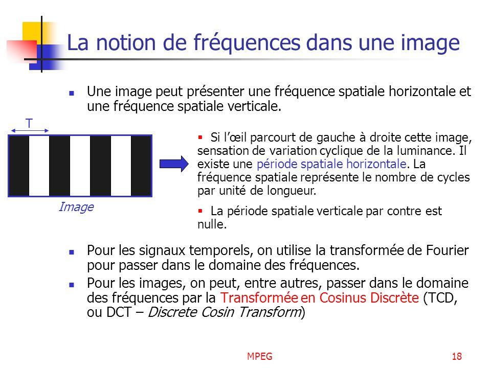 MPEG18 La notion de fréquences dans une image Une image peut présenter une fréquence spatiale horizontale et une fréquence spatiale verticale. Pour le