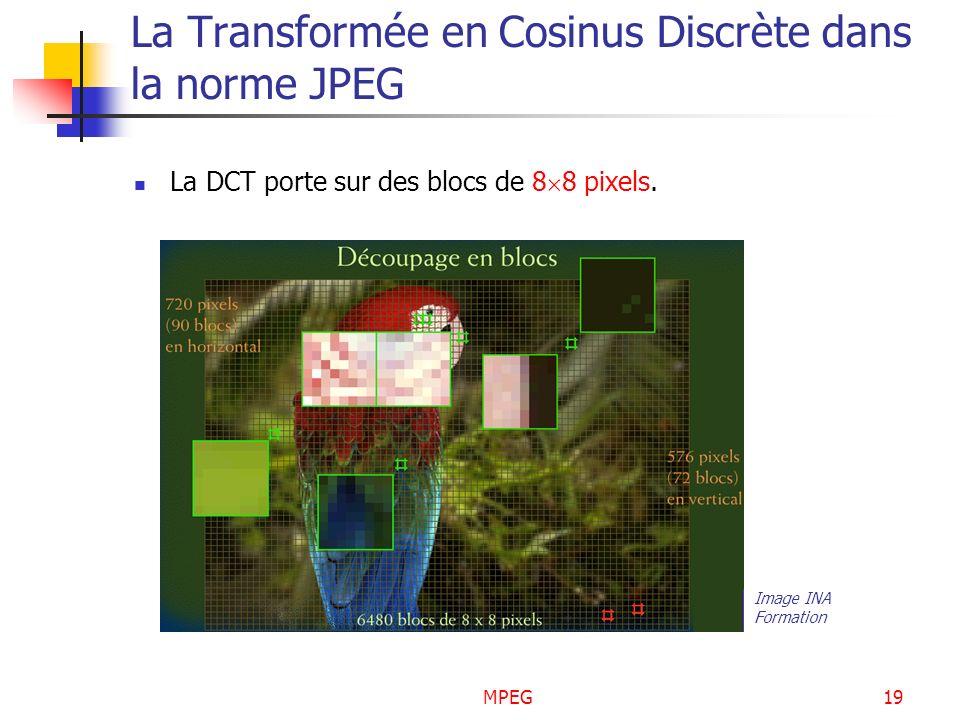 MPEG19 La Transformée en Cosinus Discrète dans la norme JPEG La DCT porte sur des blocs de 8 8 pixels. Image INA Formation