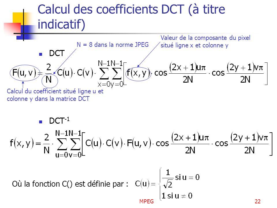 MPEG22 Calcul des coefficients DCT (à titre indicatif) DCT DCT -1 N = 8 dans la norme JPEG Valeur de la composante du pixel situé ligne x et colonne y