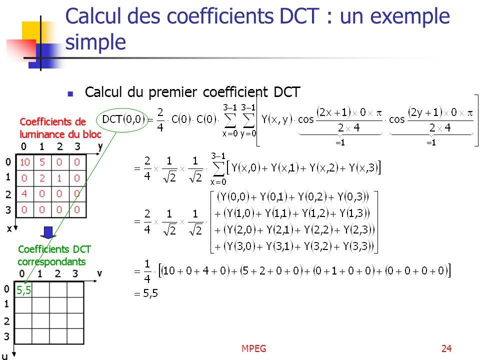 MPEG24 Calcul des coefficients DCT : un exemple simple Calcul du premier coefficient DCT 5,5