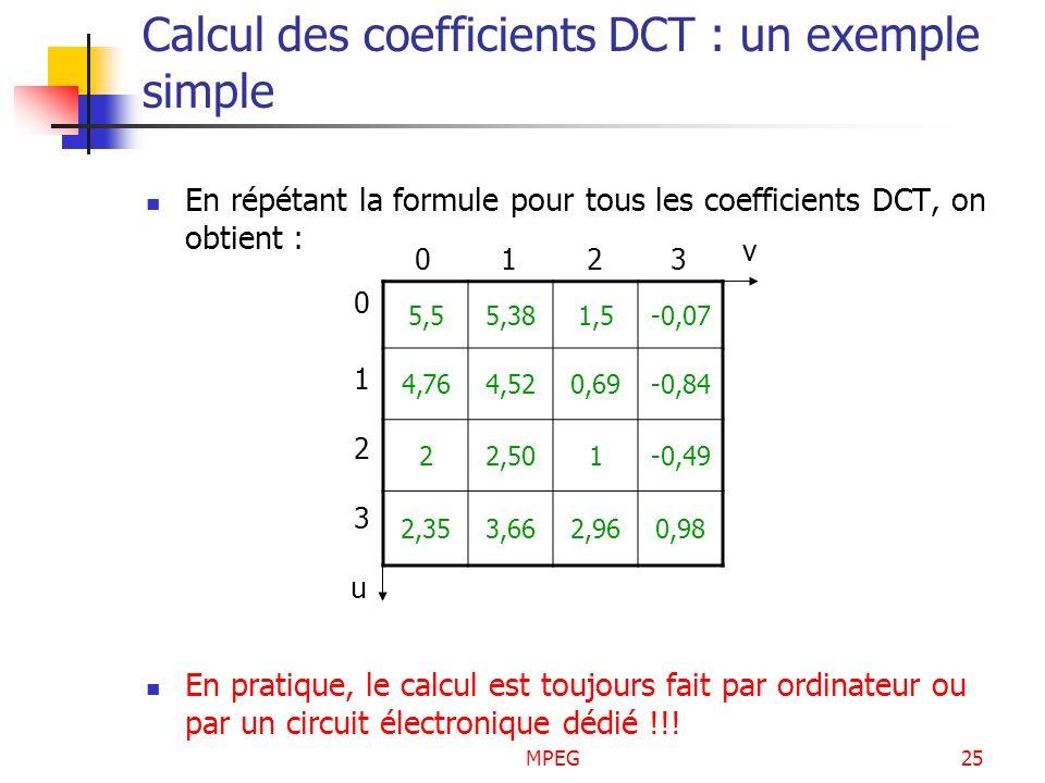 MPEG25 Calcul des coefficients DCT : un exemple simple En répétant la formule pour tous les coefficients DCT, on obtient : En pratique, le calcul est