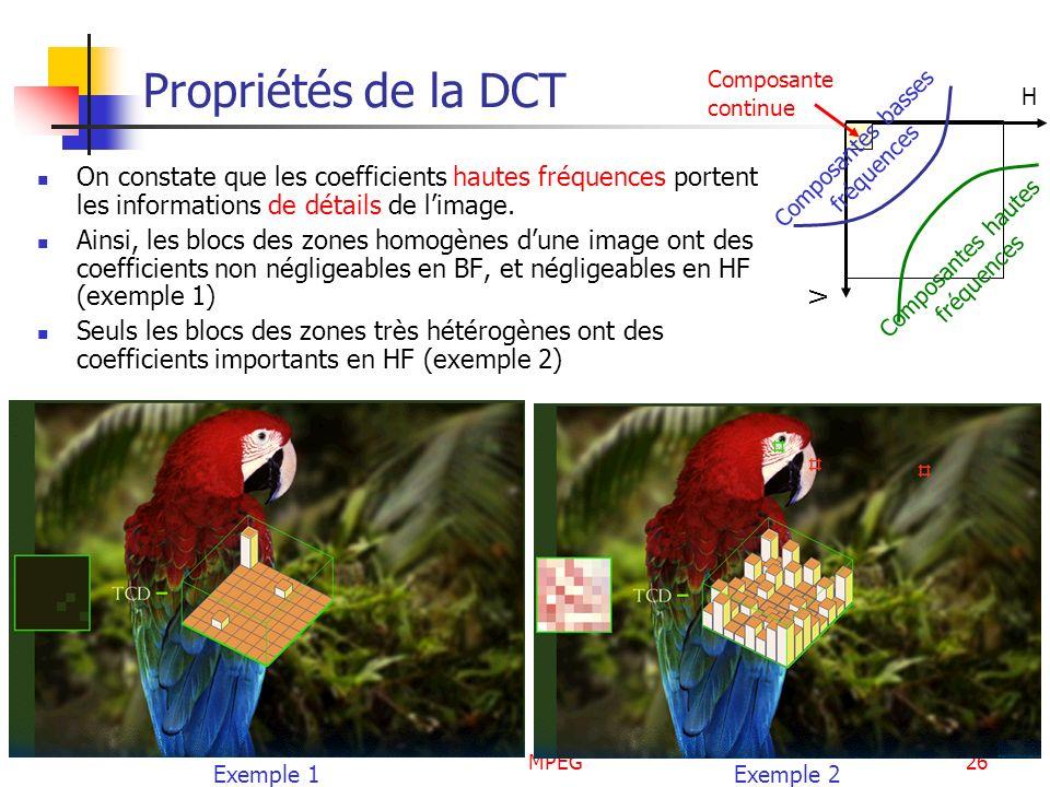 MPEG26 Propriétés de la DCT On constate que les coefficients hautes fréquences portent les informations de détails de limage. Ainsi, les blocs des zon