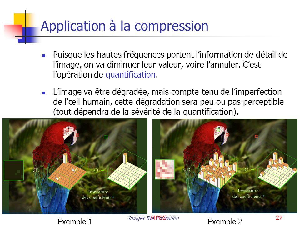 MPEG27 Application à la compression Puisque les hautes fréquences portent linformation de détail de limage, on va diminuer leur valeur, voire lannuler
