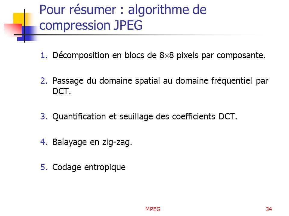 MPEG34 Pour résumer : algorithme de compression JPEG 1.Décomposition en blocs de 8 8 pixels par composante. 2.Passage du domaine spatial au domaine fr