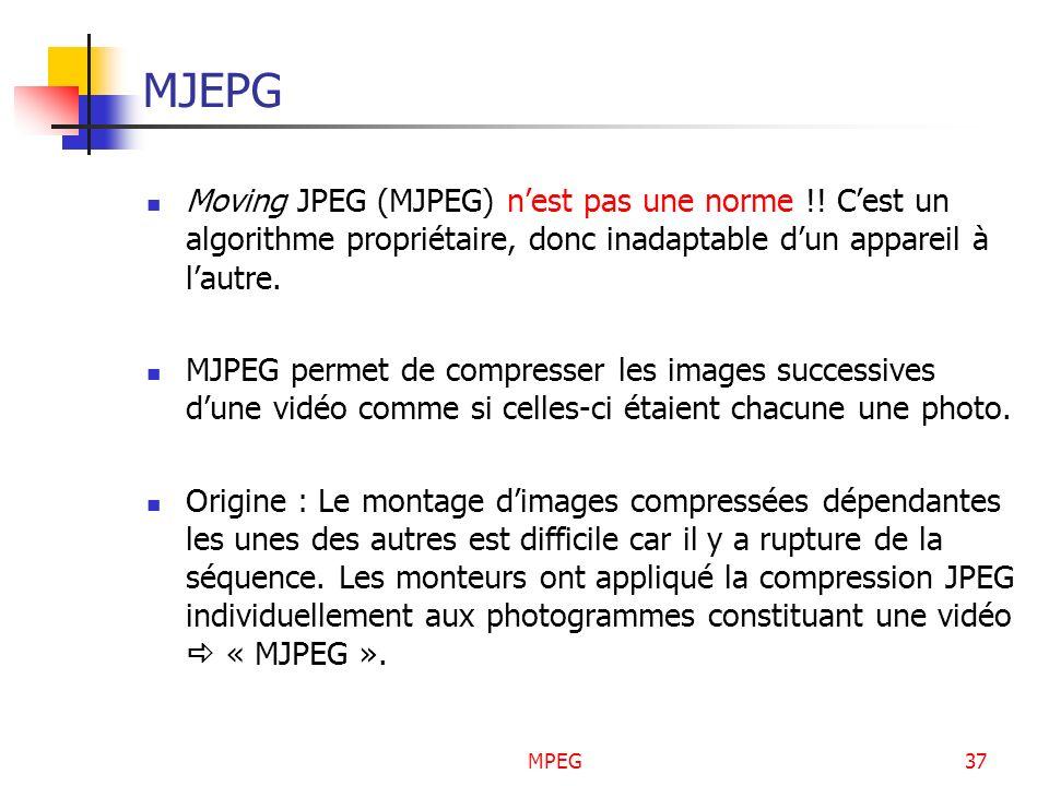 MPEG37 MJEPG Moving JPEG (MJPEG) nest pas une norme !! Cest un algorithme propriétaire, donc inadaptable dun appareil à lautre. MJPEG permet de compre