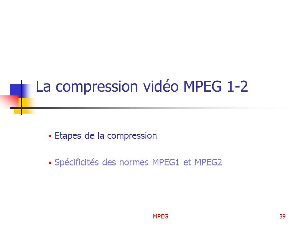 MPEG39 La compression vidéo MPEG 1-2 Etapes de la compression Spécificités des normes MPEG1 et MPEG2