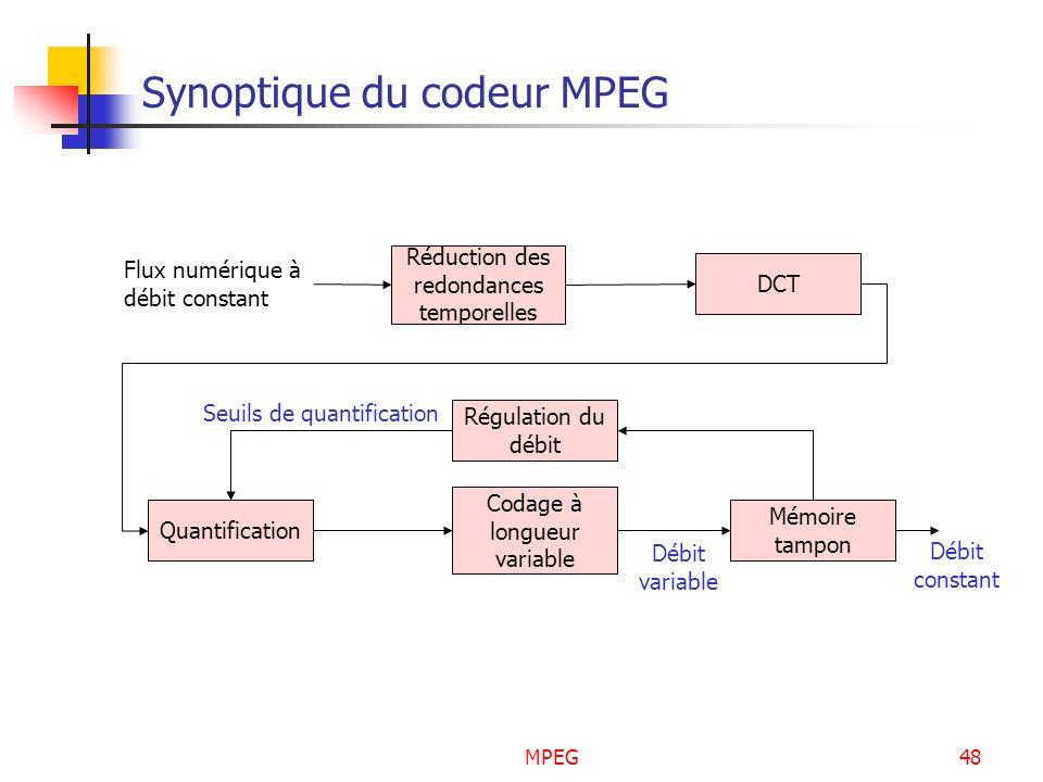 MPEG48 Synoptique du codeur MPEG DCT Régulation du débit Quantification Codage à longueur variable Mémoire tampon Flux numérique à débit constant Débi