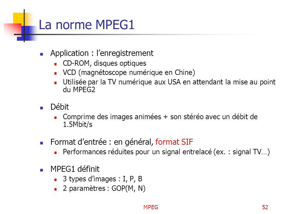 MPEG52 La norme MPEG1 Application : lenregistrement CD-ROM, disques optiques VCD (magnétoscope numérique en Chine) Utilisée par la TV numérique aux US