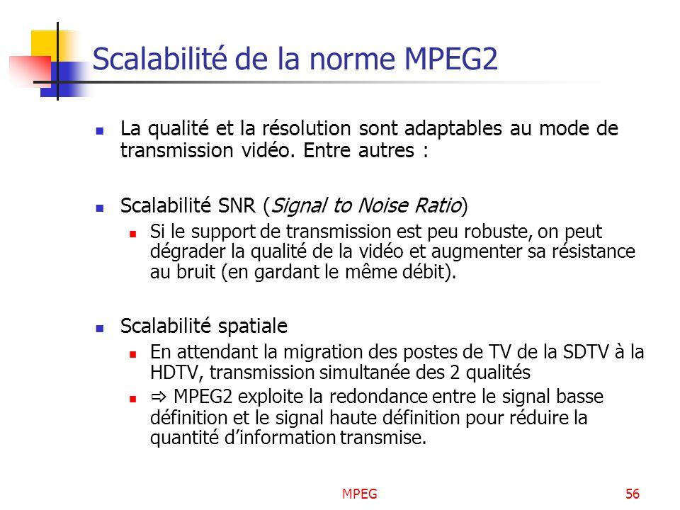 MPEG56 Scalabilité de la norme MPEG2 La qualité et la résolution sont adaptables au mode de transmission vidéo. Entre autres : Scalabilité SNR (Signal