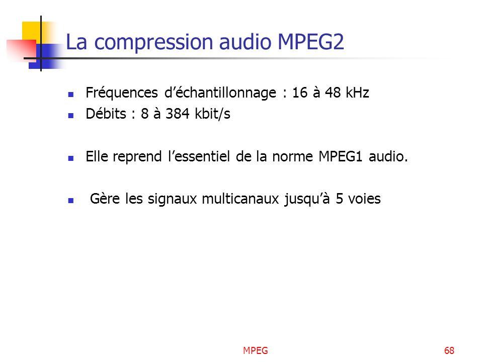MPEG68 La compression audio MPEG2 Fréquences déchantillonnage : 16 à 48 kHz Débits : 8 à 384 kbit/s Elle reprend lessentiel de la norme MPEG1 audio. G