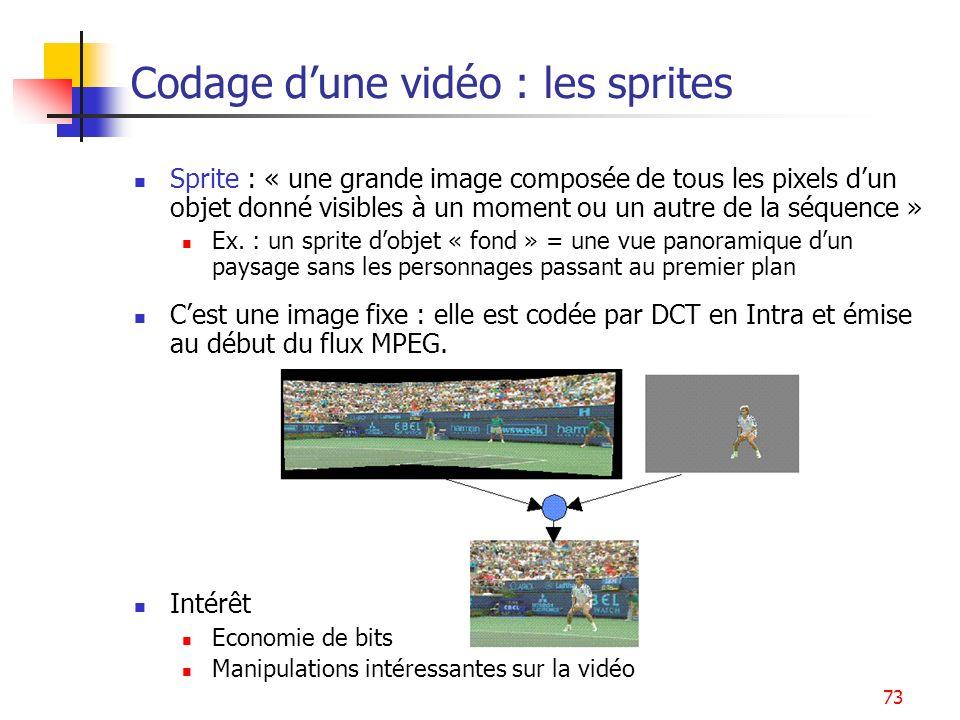73 Codage dune vidéo : les sprites Sprite : « une grande image composée de tous les pixels dun objet donné visibles à un moment ou un autre de la séqu