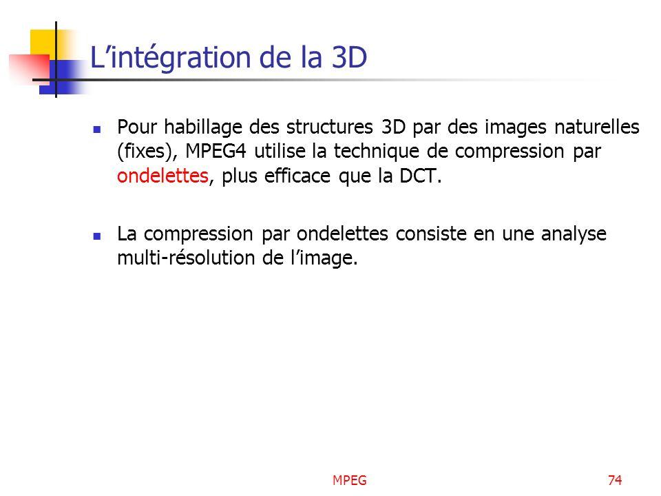MPEG74 Lintégration de la 3D Pour habillage des structures 3D par des images naturelles (fixes), MPEG4 utilise la technique de compression par ondelet