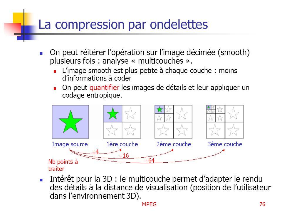 MPEG76 La compression par ondelettes On peut réitérer lopération sur limage décimée (smooth) plusieurs fois : analyse « multicouches ». Limage smooth