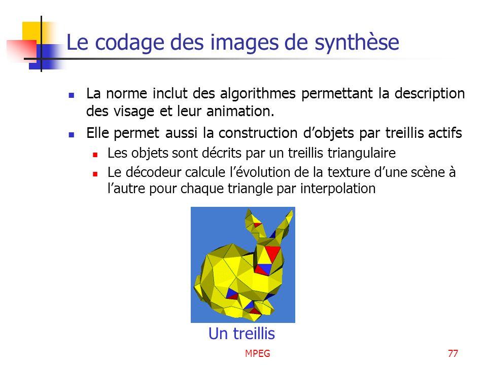 MPEG77 Le codage des images de synthèse La norme inclut des algorithmes permettant la description des visage et leur animation. Elle permet aussi la c