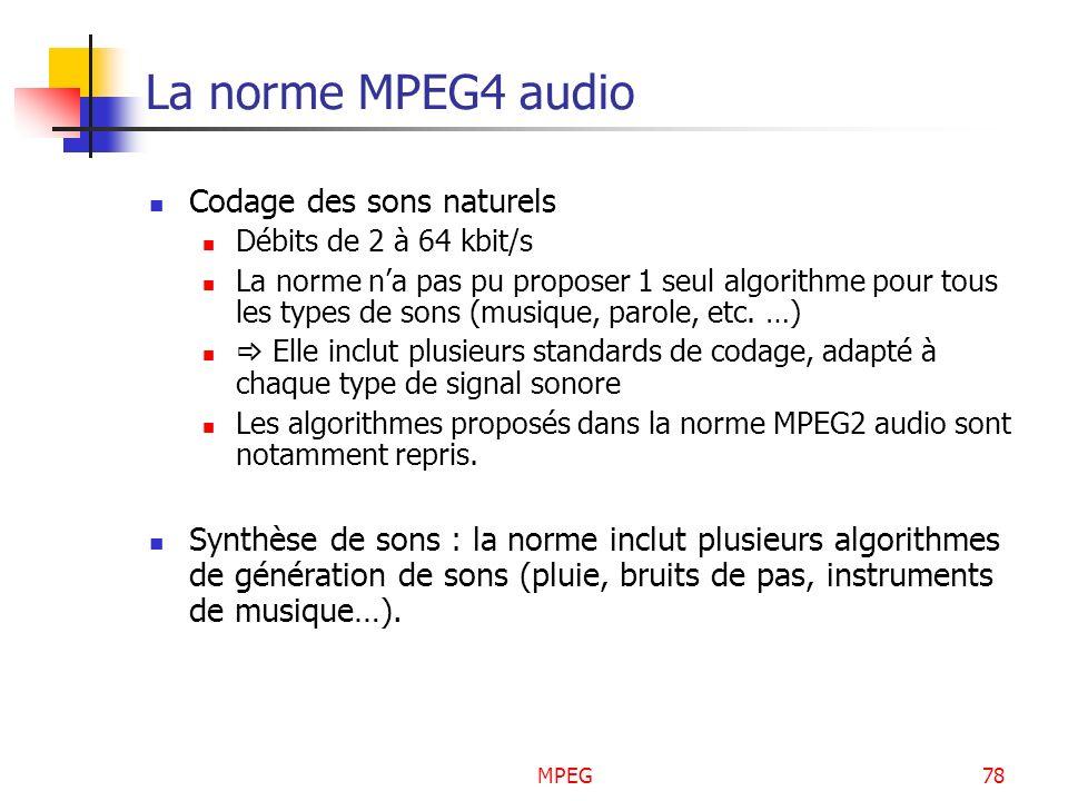 MPEG78 La norme MPEG4 audio Codage des sons naturels Débits de 2 à 64 kbit/s La norme na pas pu proposer 1 seul algorithme pour tous les types de sons