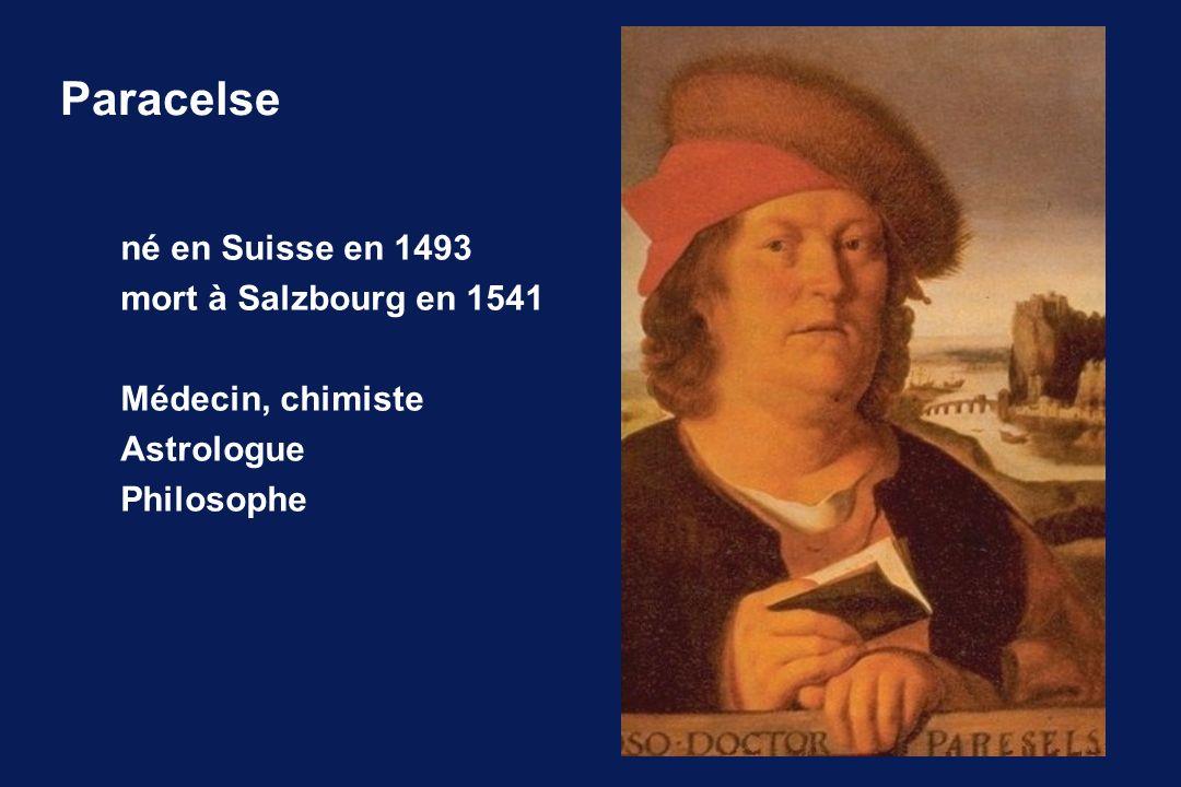 Paracelse né en Suisse en 1493 mort à Salzbourg en 1541 Médecin, chimiste Astrologue Philosophe