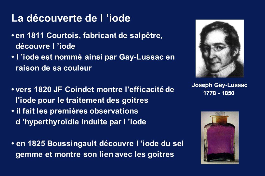 en 1811 Courtois, fabricant de salpêtre, découvre l iode l iode est nommé ainsi par Gay-Lussac en raison de sa couleur vers 1820 JF Coindet montre l'e