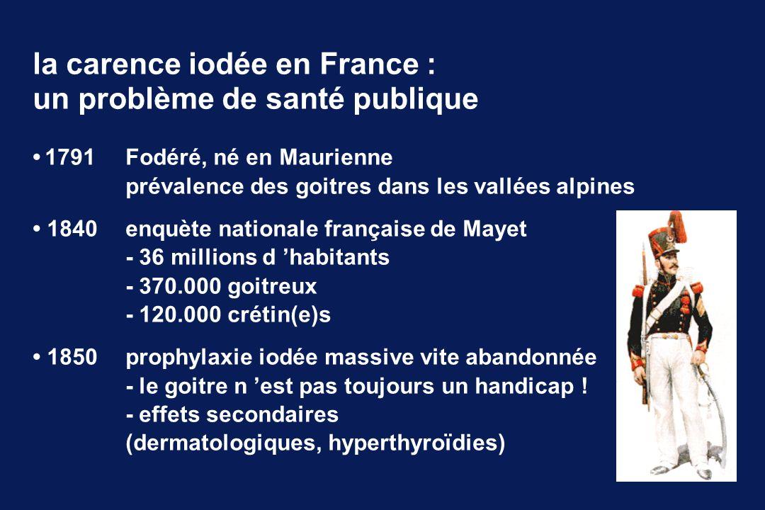 1791 Fodéré, né en Maurienne prévalence des goitres dans les vallées alpines 1840enquète nationale française de Mayet - 36 millions d habitants - 370.