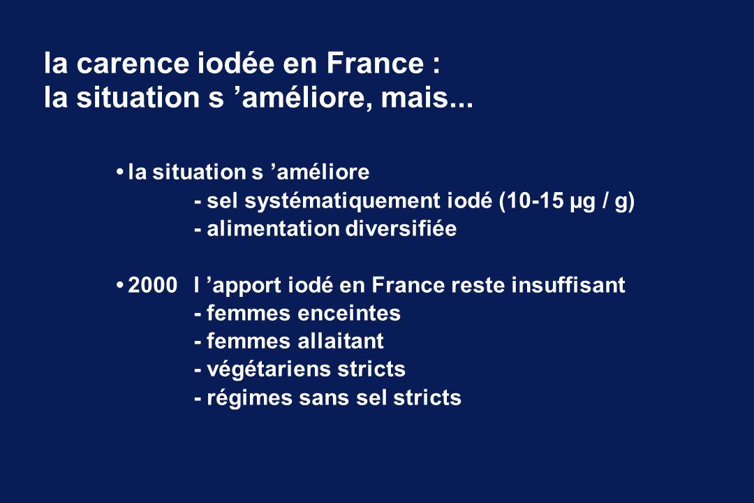 la situation s améliore - sel systématiquement iodé (10-15 µg / g) - alimentation diversifiée 2000 l apport iodé en France reste insuffisant - femmes
