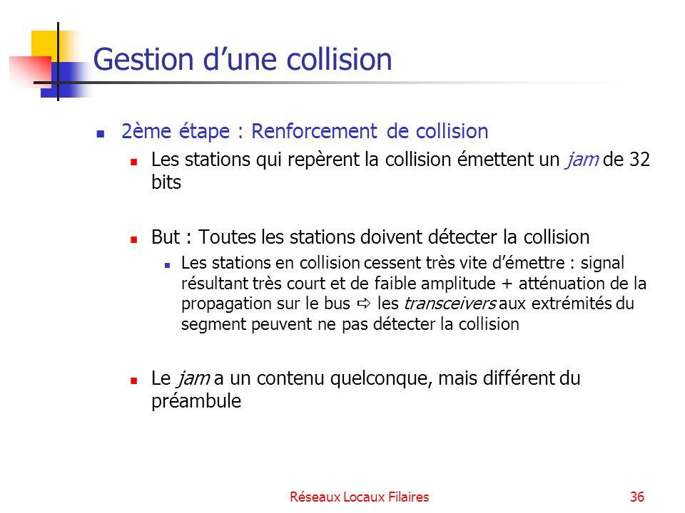 Réseaux Locaux Filaires37 Gestion dune collision 3ème étape : Résolution de la collision Les stations en collision tirent un temps aléatoire M RTD, M étant calculé selon lalgorithme du BEB (Binary Exponentiel Backoff ).
