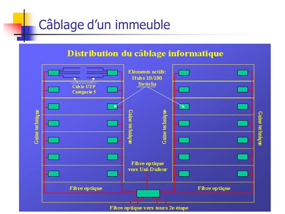 Réseaux Locaux Filaires55 Câblage dun immeuble Baies de brassage Câblage horizontal Interconnexion (Dorsale) Prises
