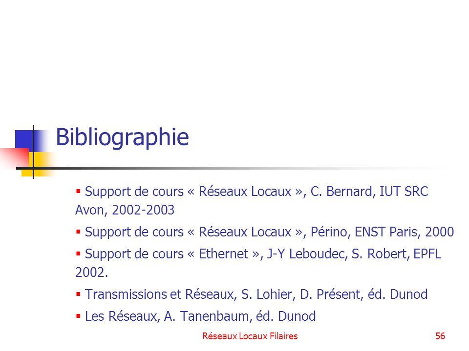 Réseaux Locaux Filaires56 Bibliographie Support de cours « Réseaux Locaux », C. Bernard, IUT SRC Avon, 2002-2003 Support de cours « Réseaux Locaux »,