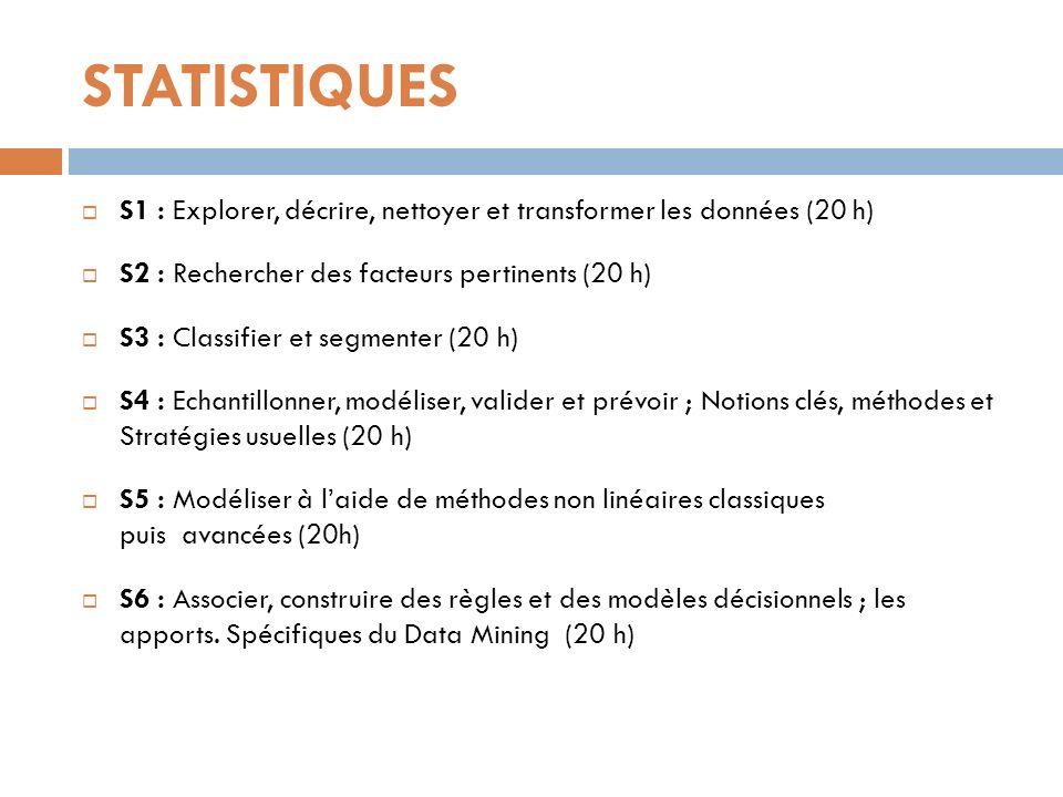 STATISTIQUES S1 : Explorer, décrire, nettoyer et transformer les données (20 h) S2 : Rechercher des facteurs pertinents (20 h) S3 : Classifier et segm