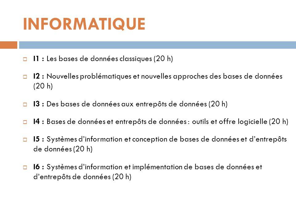 INFORMATIQUE I1 : Les bases de données classiques (20 h) I2 : Nouvelles problématiques et nouvelles approches des bases de données (20 h) I3 : Des bas