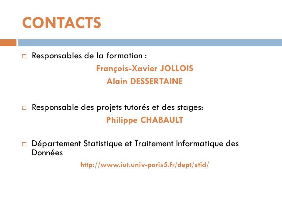CONTACTS Responsables de la formation : François-Xavier JOLLOIS Alain DESSERTAINE Responsable des projets tutorés et des stages: Philippe CHABAULT Dép