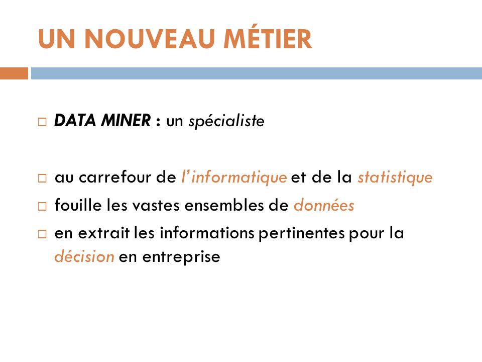 UN NOUVEAU MÉTIER DATA MINER : un spécialiste au carrefour de linformatique et de la statistique fouille les vastes ensembles de données en extrait le