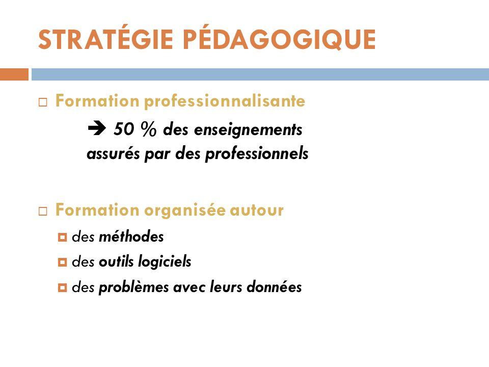 STRATÉGIE PÉDAGOGIQUE Formation professionnalisante 50 % des enseignements assurés par des professionnels Formation organisée autour des méthodes des