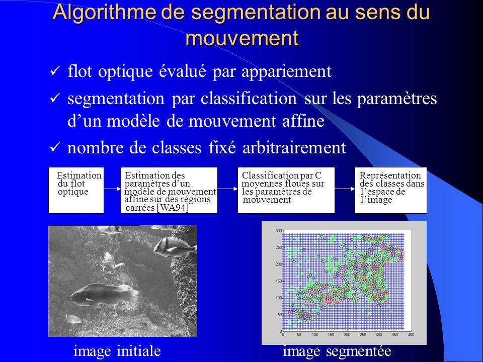 Algorithme de segmentation au sens du mouvement flot optique évalué par appariement segmentation par classification sur les paramètres dun modèle de m
