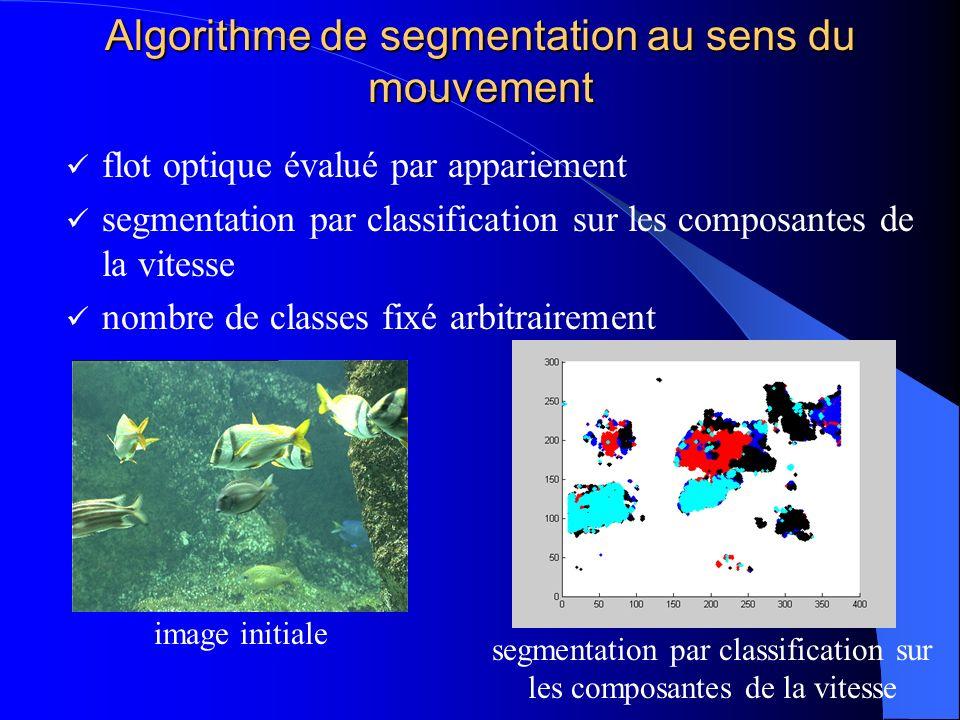 Algorithme de segmentation au sens du mouvement flot optique évalué par appariement segmentation par classification sur les composantes de la vitesse