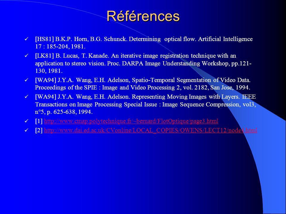 Références [HS81] B.K.P. Horn, B.G. Schunck. Determining optical flow. Artificial Intelligence 17 : 185-204, 1981. [LK81] B. Lucas, T. Kanade. An iter