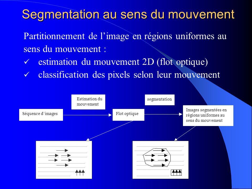 Segmentation au sens du mouvement Partitionnement de limage en régions uniformes au sens du mouvement : estimation du mouvement 2D (flot optique) clas