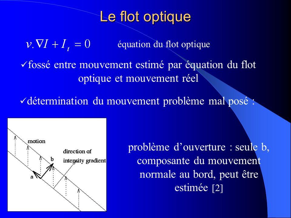 Le flot optique équation du flot optique fossé entre mouvement estimé par équation du flot optique et mouvement réel détermination du mouvement problè