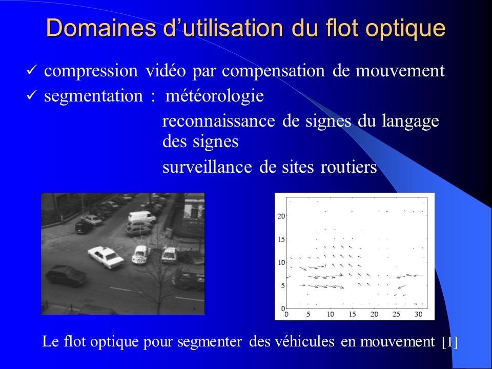 Domaines dutilisation du flot optique compression vidéo par compensation de mouvement segmentation : météorologie reconnaissance de signes du langage